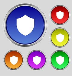 Shield Protection icon sign Round symbol on bright vector