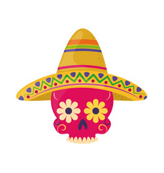 skull with hat decoration cinco de mayo mexican vector image