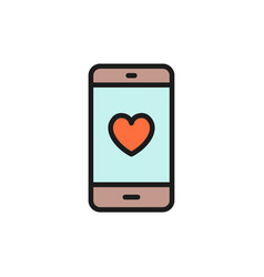 smartphone with heart on display love message vector image