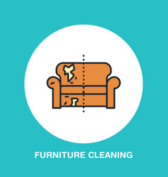 Sofa repair line icon upholstered furniture dry vector