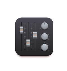 Sound mixer music record app interface icon vector