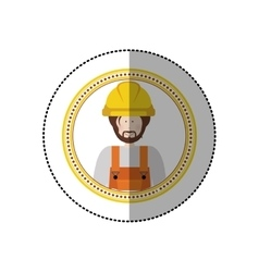 Sticker in circular shape with portrait man worker vector
