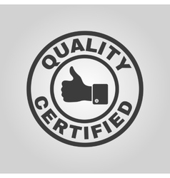 The certified quality and thumbs up icon vector