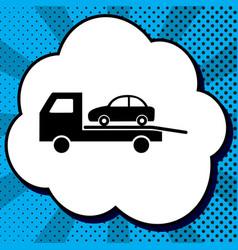 tow car evacuation sign black icon in vector image