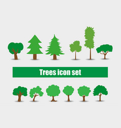 trees icons set vector image