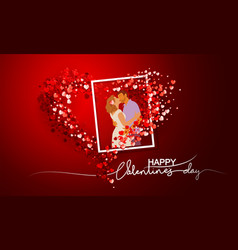 valentines day card decorative red background vector image