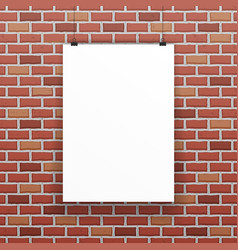 white blank paper sheet raw red brick wall vector image