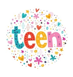 word teen typography lettering decorative text vector image