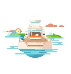 Yacht flat design vector image