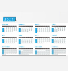 Year calendar 2019 office horizontal design vector