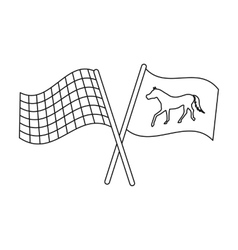 Crossed checkered and equestrian flags icon in vector