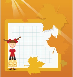 Frame schoolgirl with briefcase vector image