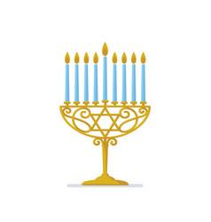 hanukkah gold menorah jewish holiday hanukkah vector image