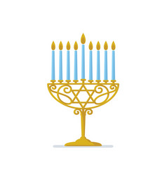 hanukkah gold menorah jewish holiday hanukkah vector image vector image