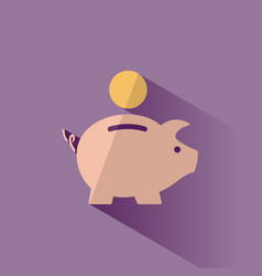 piggy bank icon with shadow on a purple background vector image vector image