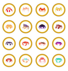 crab icon circle vector image vector image
