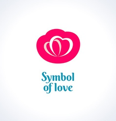 Love symbol logo template Two hearts vector image