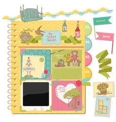 Scrapbook Design Elements - Summer Garden Doodles vector image vector image