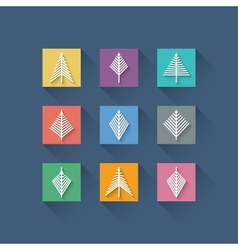 Set of Abstract Christmas Trees in Flat Design vector image vector image