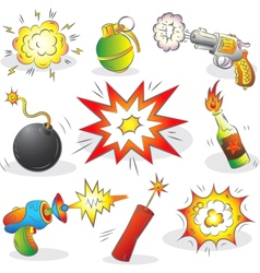Set of Explosives and Weapon vector image vector image
