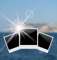 set photo frame on blurred seascape background - vector image vector image