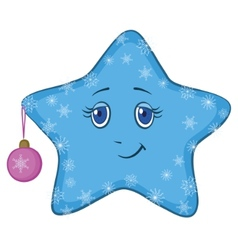 smiley star with christmas ball vector image vector image