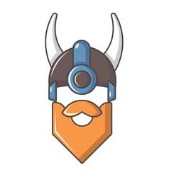 viking in horned helmet icon cartoon style vector image vector image