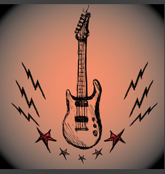 guitar lightning stars hand drawing vector image