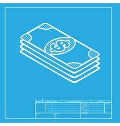 Bank Note dollar sign White section of icon on vector image