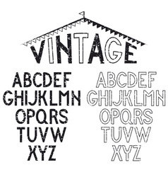 Grunge retro alphabet for labels vector image