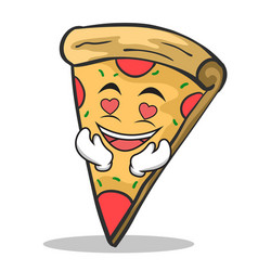 in love pizza character cartoon vector image