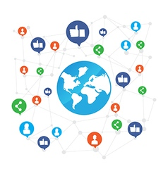 World connection with like and share icon on white vector image
