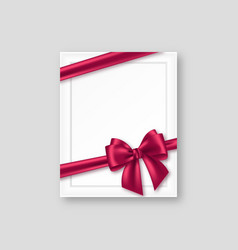 3d realistic picture frame with purple bow vector image