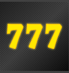 777 jackpot gold neon vector image