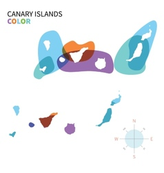 Abstract color map of Canary Islands vector image