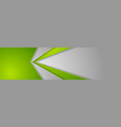 abstract green and grey tech geometric banner vector image