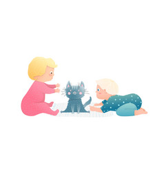 adorable toddlers kids boy and girl playing with vector image