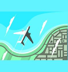 Airplane flying over seashore flat design vector