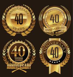 Anniversary laurel wreath 40 years vector