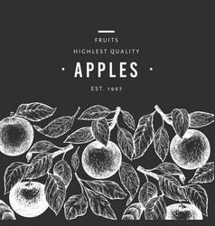 apple branch design template hand drawn garden vector image