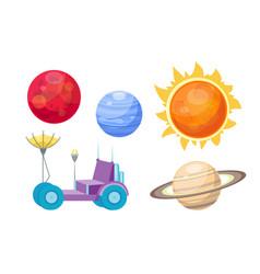 Astronomy space cartoon set vector