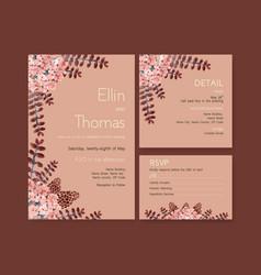 Autumn daily template design for wedding card vector