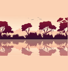 Beauty scenery rain forest silhouette vector