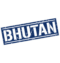 Bhutan blue square stamp vector