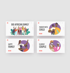 Big happy african family landing page template set vector