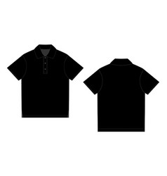 black polo t-shirt design template front and back vector image