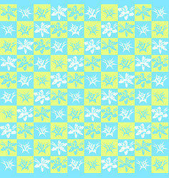 Bright exotic checkered flower pattern vector