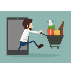 Businessman online shopping e-commerce concept vector image