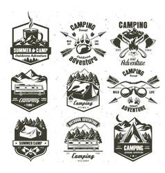 camping vintage logo set monochrome vector image