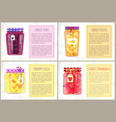 Canned pineapple and plum food vector